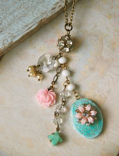 Lola. shabby chic floral locket necklace
