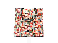 exclusive multicolor bag with handles in black paracord, 100% handmade large tote in geometric fabric.