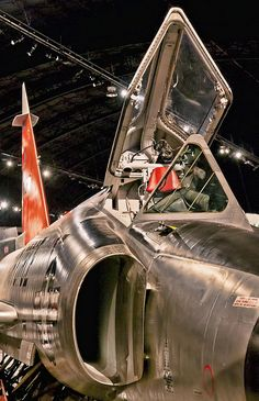 F-102A Delta Dagger - part of the Century Series (F-101 F-4) and the 1st operational supersonic US jet fighter. It also had an internal weapons bay. When retired it was fitted out QF-102 Full Scale Aerial Target (FSAT) drone.