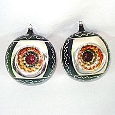 2 West Germany 1950s Jumbo Triple Indent Christmas Ornaments