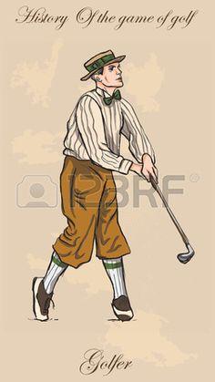 Golfista del vintage, un hombre. Dibujo a mano alzada, vector. Vector es fácil editable por capas. Color de fondo es aislado.