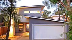 James Hardie Scyon Cladding, Highlight Feature windows, skillion garage roof, Two Storey home design, beachside home House Cladding, Exterior Cladding, Facade House, House Roof, House Facades, Home Design, Shed Design, Garage Design, Design Ideas