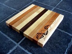Cutting Board - Leafy Hearts, Serving Tray, Cheese Board, Pyrography Design, Modern Design, Woodburned