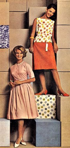 1962 70s Outfits, Casual Outfits, 1960s Fashion, Vintage Fashion, Women's Fashion, Vintage Dresses, Vintage Outfits, Vintage Clothing, Vintage Beauty