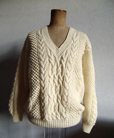 fisherman's  hand knit sweater in cream by madeinkrakow on Etsy, $150.00