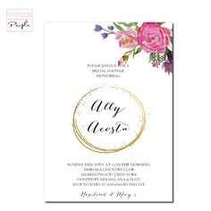 GOLD FAUX ENDLESS Circle Gold Bridal Shower Invitation with Handpainted Peonies Pretty Flowers Gold Free priority shipping or diy - 14-33 White Bridal Shower, Gold Bridal Showers, Modern Invitations, Bridal Shower Invitations, Pink And Gold, Blush Pink, Engagement Party Planning, Expecting Baby, Pretty Flowers
