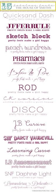 15 fabulous fonts picked up by The House Of Smiths :)