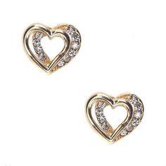 One Love Gold Heart Earrings! #GoldJewelry #InspiredSilver #Gold #Jewelry #Earrings #Heart http://www.inspiredsilver.com/