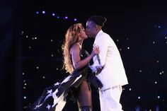 Still crazy in love. Beyoncé and Jay Z seal the final show of their joint On The Run Tour with a kiss in Paris on Sept. 12