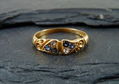 Antique Sapphire & Diamond Ring by GADantiques on Etsy, £295.00