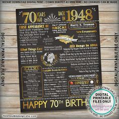 "NOTICE: Shop owner is away & ""unplugged"". Currently, only Instant Downloads are available (nothing custom). Messages may not be replied to immediately. Please see the SHOP ANNOUNCEMENT for more info. 70th Birthday 1948 printable chalkboard style poster -- A fun birthday poster filled"