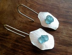 Rough Apatite and sterling silver dangle earrings by Unics on Etsy, $52.00