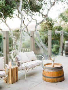 Lounge with wine barrel table for cocktail reception at Carmel Valley Ranch Wedding #weddinglounge #winebarreltable