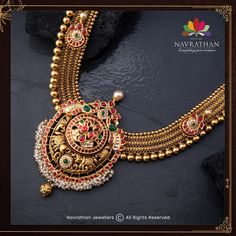 Don't Miss These Royal Looking Necklace Designs!! • South India Jewels Antique Jewellery Designs, Gold Jewellery Design, Bead Jewellery, Temple Jewellery, Antique Jewelry, Gold Jewelry, Jewlery, Gold Mangalsutra Designs, Gold Earrings Designs