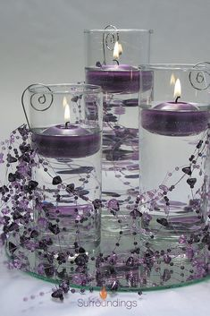 New birthday party table centerpieces diy floating candles 48 ideas Floating Candles Wedding, Floating Candle Centerpieces, Wedding Table Centerpieces, Wedding Decorations, Quinceanera Centerpieces, Purple Centerpiece Wedding, Graduation Centerpiece, Table Violet, Vase Haut