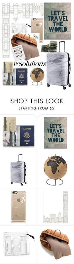 """""""#PolyPresents: New Year's Resolutions"""" by lseed87 ❤ liked on Polyvore featuring Trademark Fine Art, CalPak, CB2, Casetify, Wall Pops!, H&M, White + Warren and Aventura"""