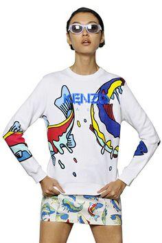 Kenzo Printed Cotton Fleece Sweatshirt, $422, available at LuisaViaRoma.