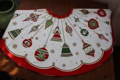 Christmas tree Skirt Shiny Brite Ornaments Angle Snowflake VINTAGE