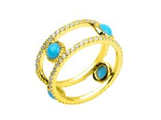 Feature of the day: The Perissa Ring inspired by the island of Santorini adorned by 4 turquoise cabochon stones and held by 2 diamond eternity bands and tastefully set in 14k yellow gold. Ethnically.Pavé