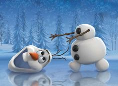 "Sven and Olaf from Disney's ""Frozen"" play on the ice to happy birthday song instrumental for your special day."