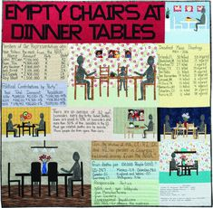 Empty Chairs at Dinner Tables, quilt by Joan M. Nicholson (Kansas) from the SAQA Member Art exhibit Guns: Loaded Conversations