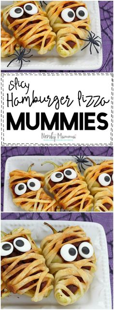OOOH! I love this recipe for Spicy Hamburger Pizza Mummies! So cute...and SO easy! LOL!