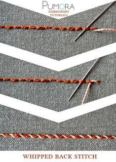 Pumora s stich lexicon whipped back stitch umwickelter rueckstich rückstich de point de piqûre surjeté fr punto pespunte enrollado es embroiderystitchestutorials Embroidery Stitches Tutorial, Sewing Stitches, Hand Embroidery Patterns, Embroidery Techniques, Machine Embroidery, Embroidery Designs, Embroidery Supplies, Sewing Techniques, Crochet Stitches