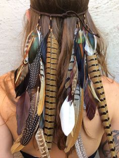 Headband/hatband // feather, leather, tribal, festival, hippie, bohemian, Native American style, boho, phish wedding, fairy