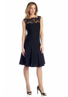 London Times  Drop-waist Dress with Lace