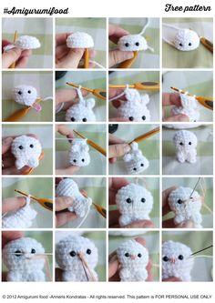 Amigurumi Food: Little Easter Bunny Free Pattern #AmigurumiFood