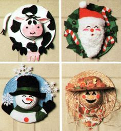 Straw Hat Craft Pattern by Simplicity. Straw Scarecrow, Winter Snowman, Christmas Santa Claus, Spring or Easter Bunny, Spotted Cow and Ladybug Door Decor Craft Pattern. Offered by TheOldLeaf on Etsy. $4.99