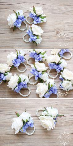 Ivory White Rose Wrist Corsage Purple by MissHanaFloralDesign