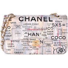 Chanel Medium Graffiti Logo Newspaper Print Double Flap Bag RUNWAY... ($13,765) ❤ liked on Polyvore featuring bags, handbags, pink purse, colorful bags, colorful handbags, pattern purse and chanel handbags