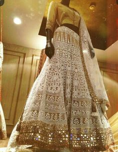 When chikankari is mixed with mirror work... It narrates a beautiful story of its own. @Manish Malhotra
