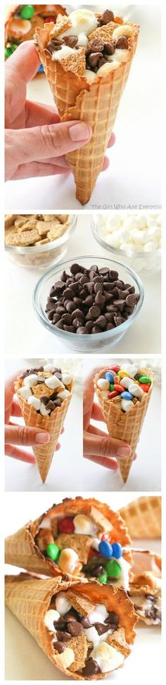 Campfire Cones - If you don't want to deal with someone poking their eye out, make your s'mores in a waffle cone, wrap it in foil, and toss it in the campfire until melted! the-girl-who-ate-everything.com