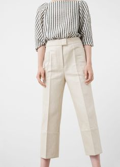 Premium - cropped linen-blend trousers - Pants for Women Casual Dress Outfits, Trendy Dresses, Nice Dresses, Casual Shoes, Casual Pants, Formal Pants Women, Pants For Women, Clothes For Women, Work Trousers