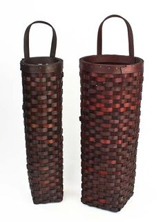 Set of 2 Primitive Burgundy Long Hanging Wall Baskets