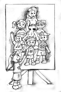 Drawing a Cute portrait...  www.findthecutes.com  #Familyportrait #Cutefamily #Findthecutes #Findcutekids #Cutechildrensbook #Cutekidsbooks #Lookandfindbooks #Seekandfind #Searchandfindbook