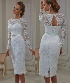 Short Wedding Dresses : Vintage Lace Tea Length Short Wedding Dresses 2017 With Long Sleeves Sheath Jewel Neck Casual Reception Bridal Gowns New Real Lace Wedding Dress With Sleeves, Short Lace Dress, Tea Length Wedding Dress, Tea Length Dresses, Dresses With Sleeves, Dress Lace, Short Sleeves, Short Gowns, Long Sleeve
