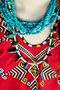 tribal chic, red & blue
