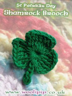St.Patricks Day Crochet Shamrock Brooch!