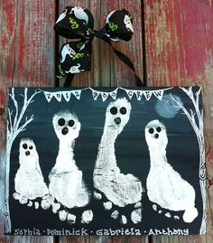 """Halloween Kids Keepsake Gift for Mom & Dad or Their Grandparents:  Craft Kit to Create a Ghost Family Personalized 11"""" x 14"""" Footprint Canvas Artwork by ..."""