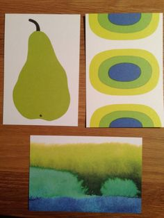 Marimekko postcards from Finland, SET OF 3, Paaryna Pear, Melooni Melon