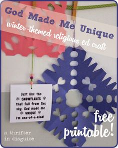 """""""Unique Like a Snowflake"""" - what a fun and easy winter religious education project! Sunday School Crafts For Kids, Sunday School Activities, Winter Crafts For Kids, Sunday School Lessons, Ccd Activities, Preschool Bible Lessons, Preschool Crafts, Kids Crafts, Easy Crafts"""