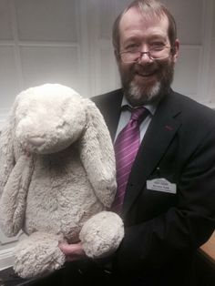 FOUND on LONDON-EDINBURGH TRAIN  Child's jellycat bunny was found on London-Edinburgh @Sharon Macdonald Macdonald Johnston Coast Trains train. Pictured below (on left). Not so cuddly man on the right! Contact: Steven on twitter https://twitter.com/kiltedlad1983