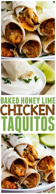 These Baked Honey Lime Chicken Taquitos are the BEST taquitos that you will make! The flavor is out of this world!!