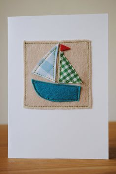 Handmade felt sailboat card