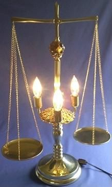 Brass scales of justice lamp