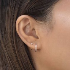 2nd Ear Piercing, Pretty Ear Piercings, Double Ear Piercings, Ear Peircings, Piercings For Small Ears, Celebrity Ear Piercings, 3 Lobe Piercings, Tragus Piercing Jewelry, Double Earrings