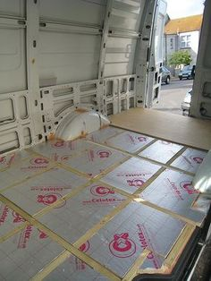 Flooring for camper/bike van - Vanlife & Caravan Renovation Cargo Van Conversion, Sprinter Van Conversion, Camper Van Conversion Diy, Van Conversion Floor, Ford Transit Camper Conversion, Kangoo Camper, Sprinter Camper, Accessoires Camping Car, Van Insulation
